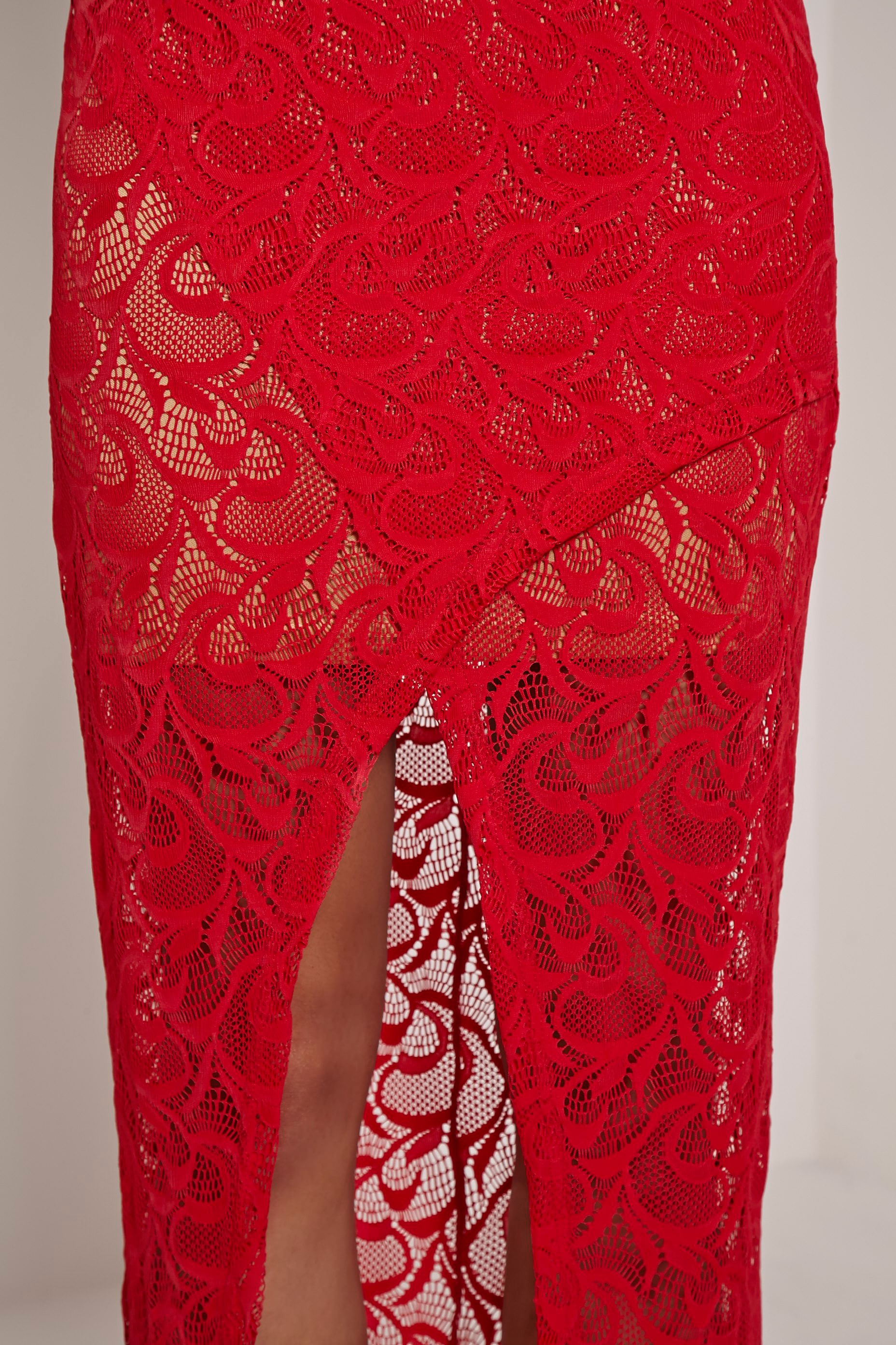 Dianie Red Lace Maxi Dress 5