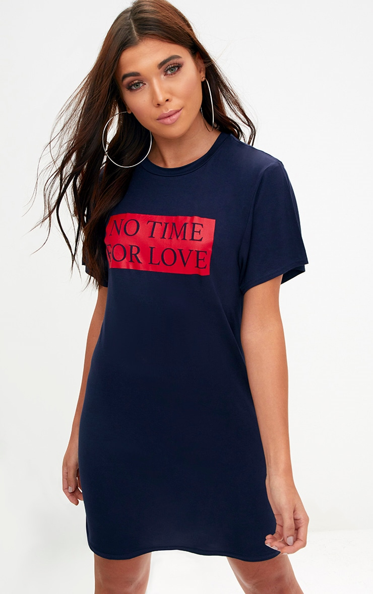 Navy No Time For Love T Shirt Dress 1
