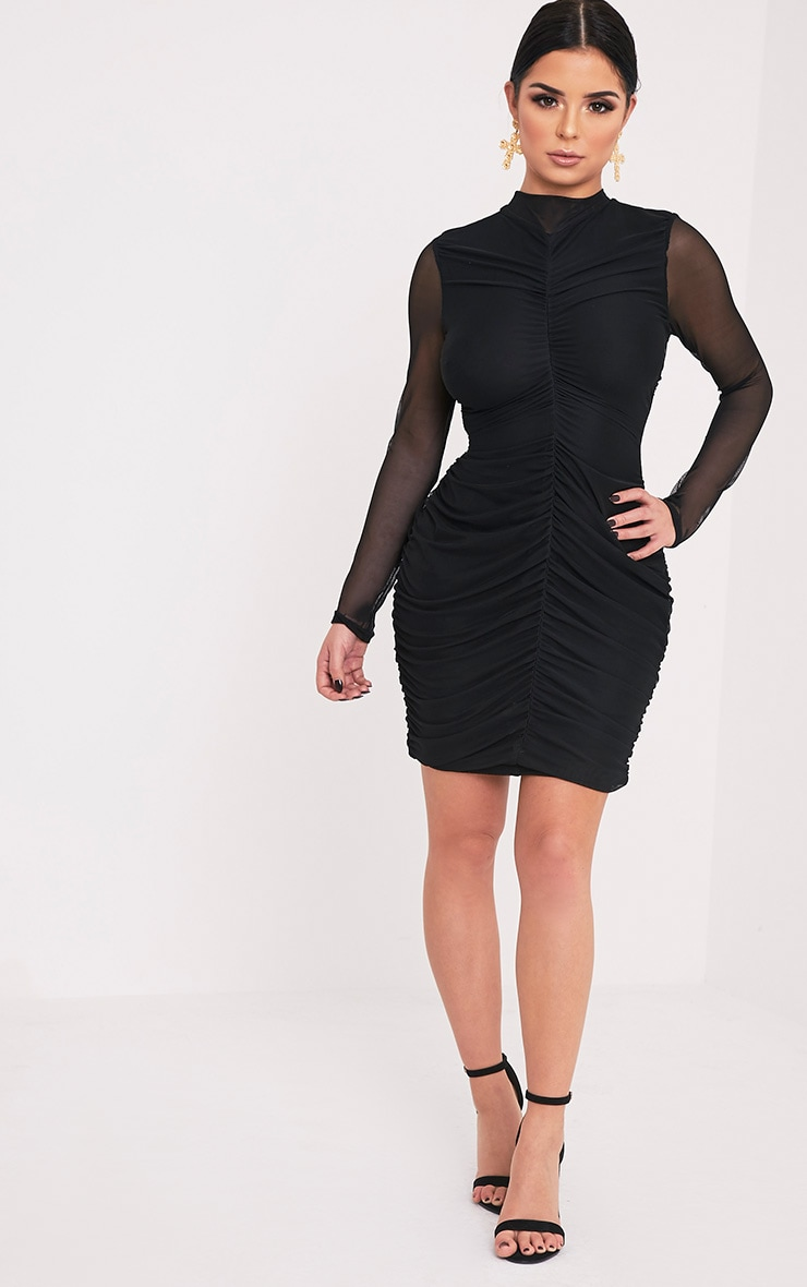 Shape Esemay Black Mesh Ruched Mini Dress 5