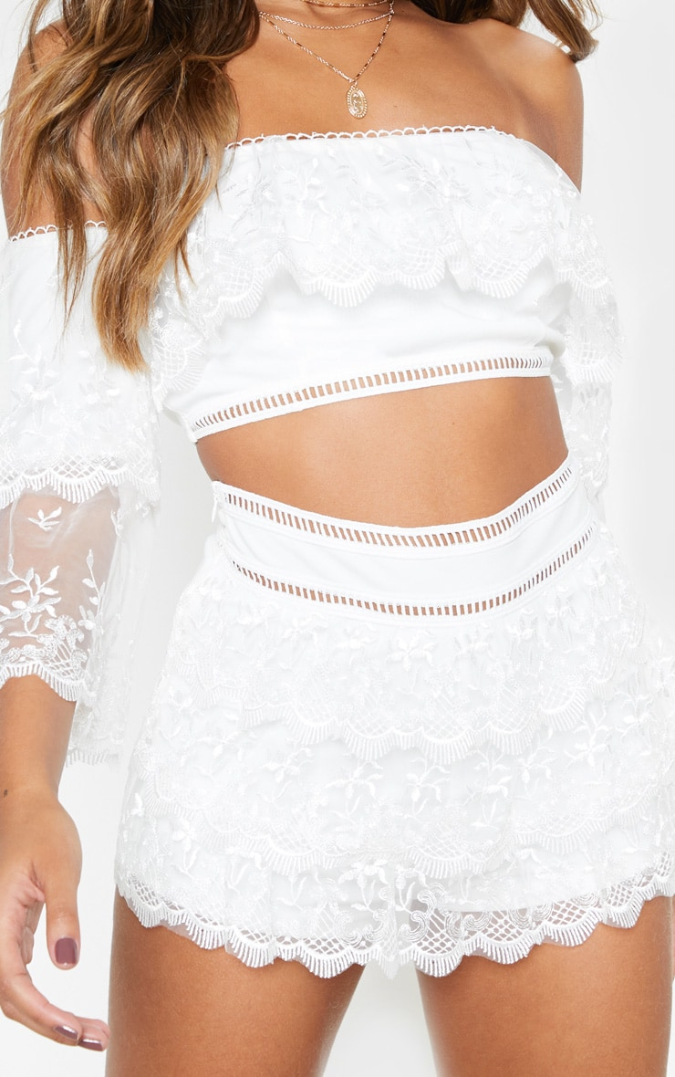 White Mesh Embroidered High Waisted Hot Pants 6