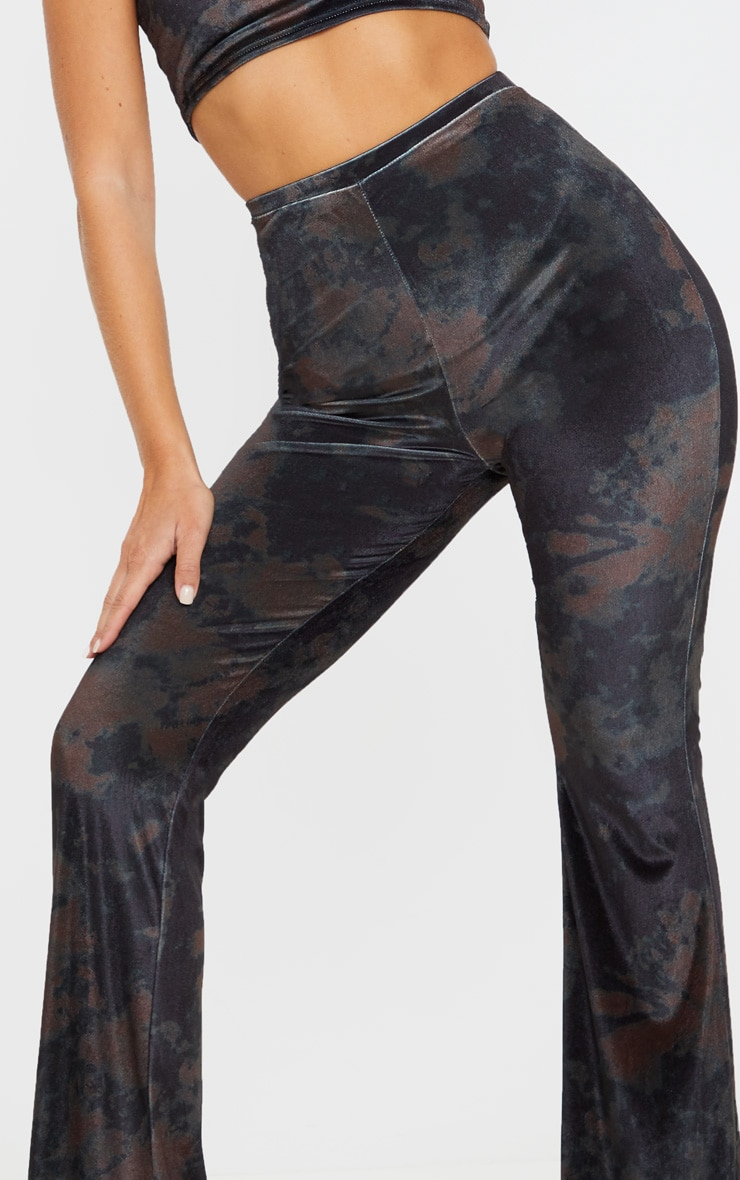 Black Tie Dye Velvet High Waisted Flared Pants 5