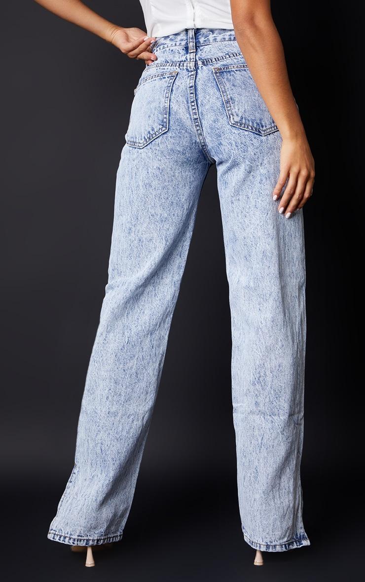 Petite Ice Blue Ripped Split Hem Jeans 3