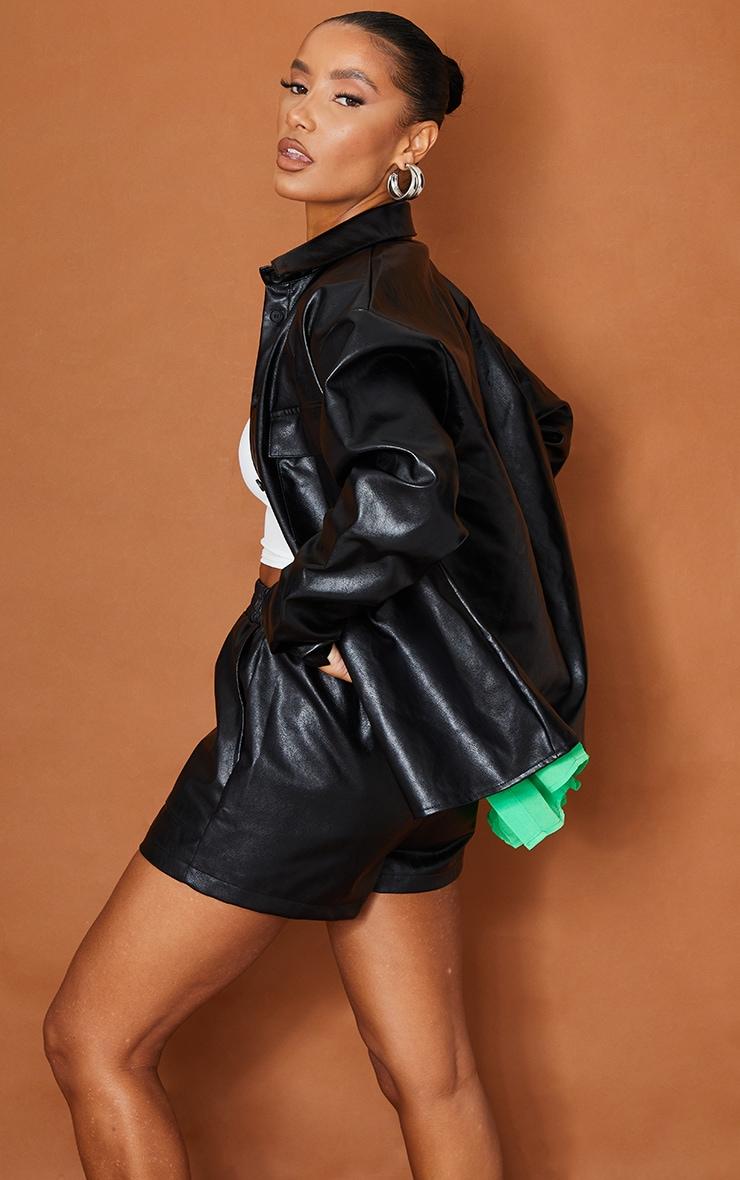 Black Faux Leather Pocket Detail Shirt 2