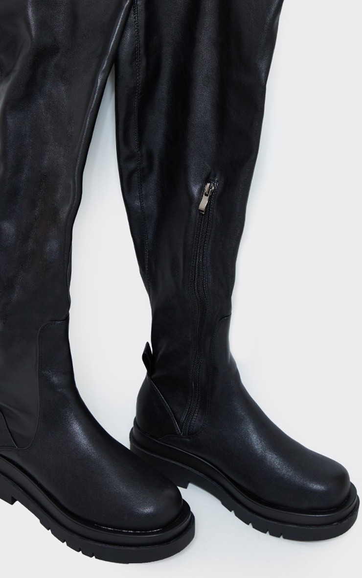 Black Pu Over The Knee Chunky Sole Boots 4