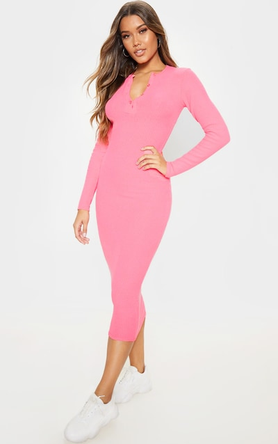 Hot Pink Brushed Rib Button Front Long Sleeve Midaxi Dress