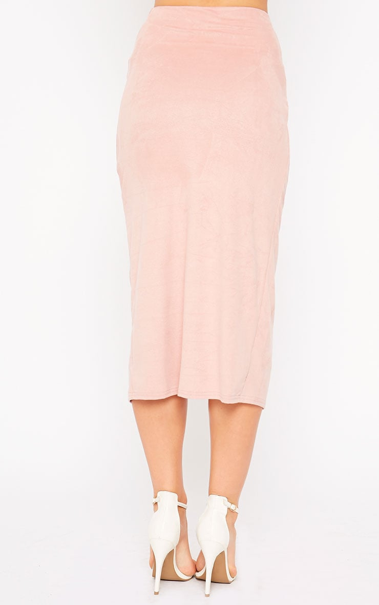 Riley Pink Suede Midi Skirt 4