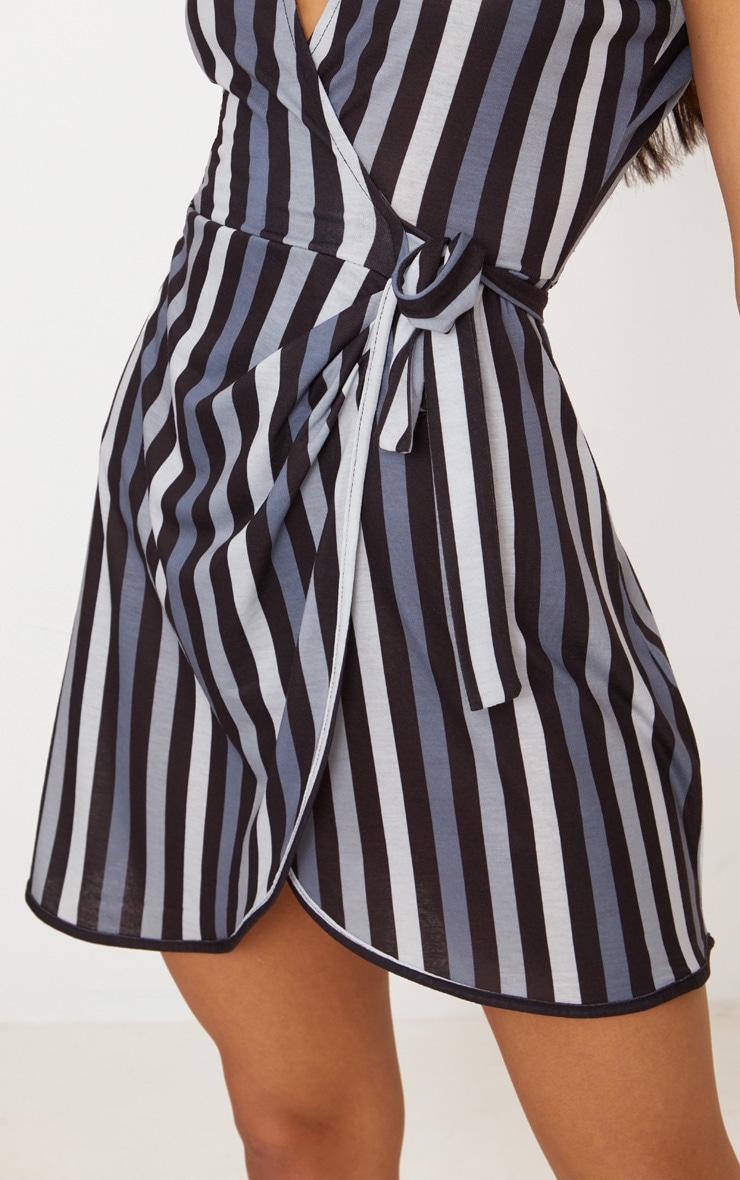Black Stripe Tie Detail Wrap Dress  5