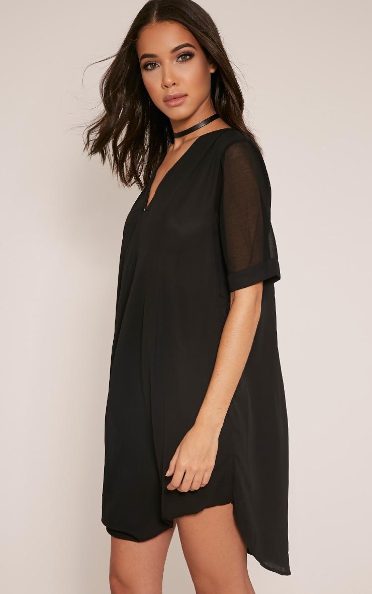 Jenia Black Wrap Front Chiffon Dress 1