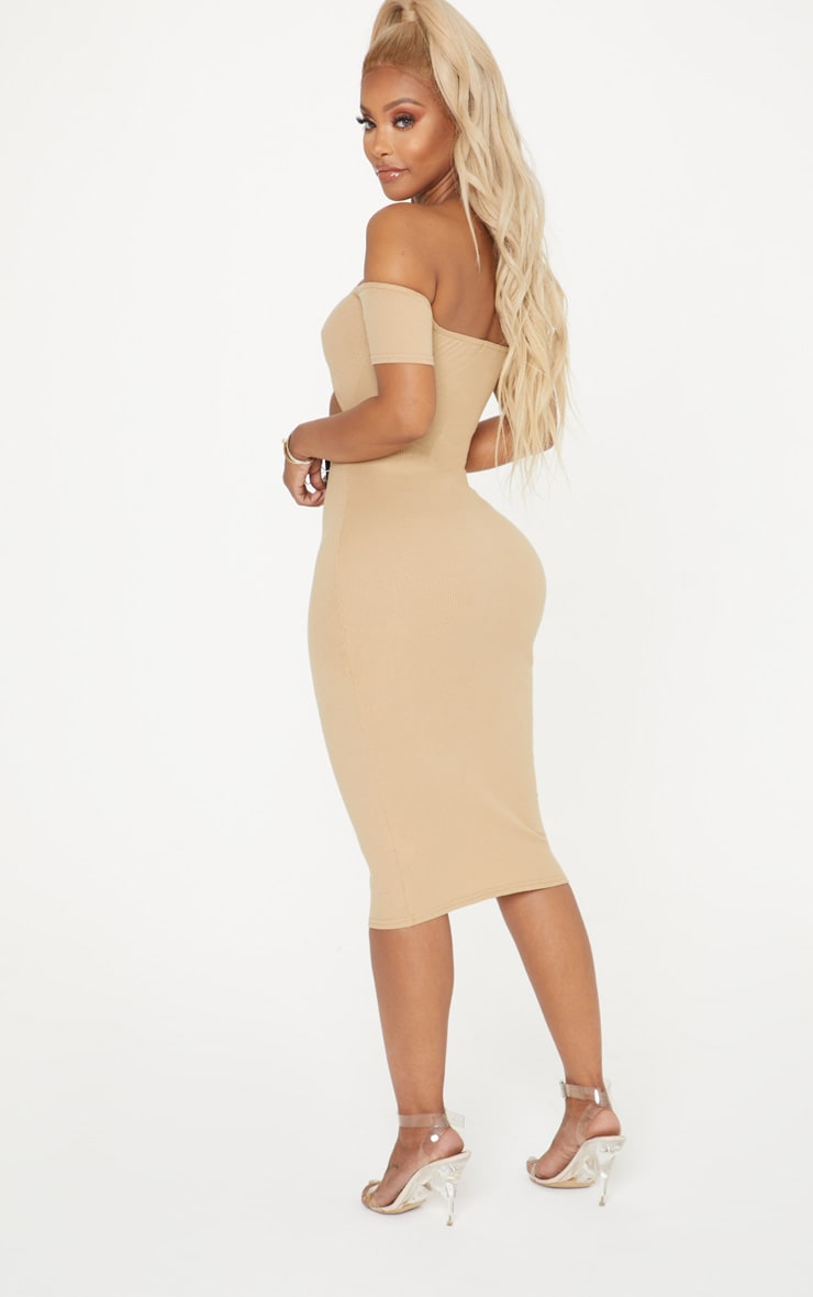 Shape Camel Ribbed Cut Out Front Midi Dress 2