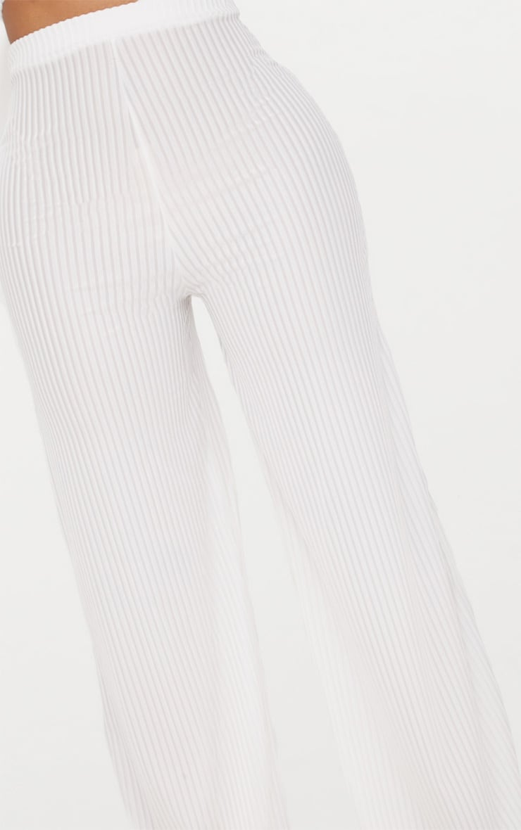 Shape White Striped Velvet Wide Leg Trousers 5