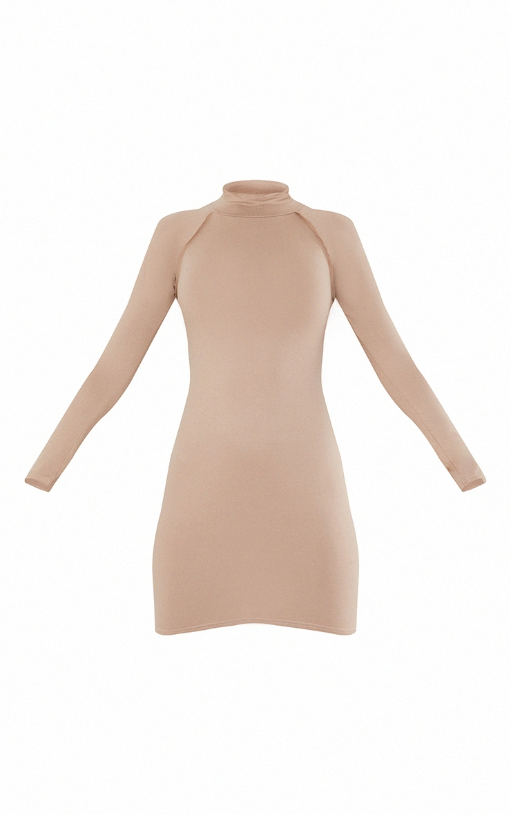 Taupe Long Sleeve Contrast Stitch Armhole Bodycon Dress 5