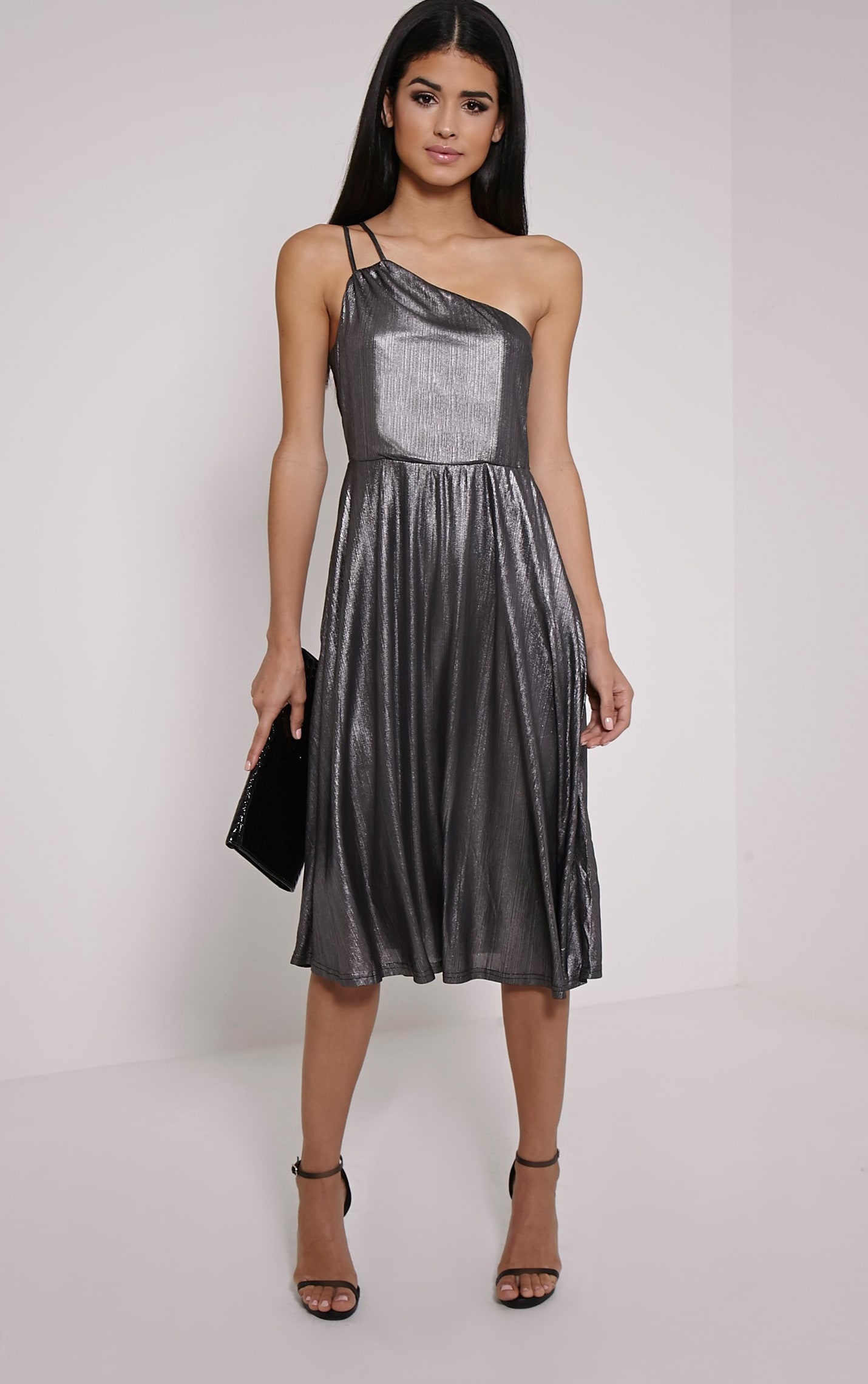 Stephy Silver Metallic Skater Dress 4