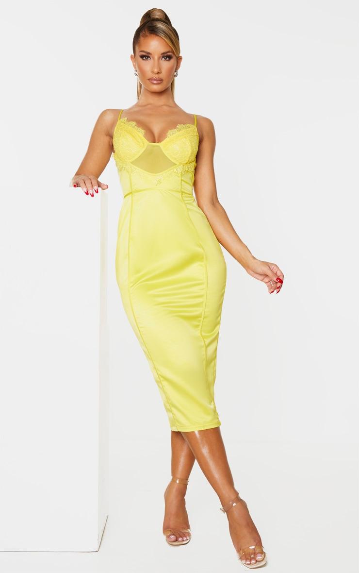 Yellow Strappy Lace Insert Binding Midi Dress 1