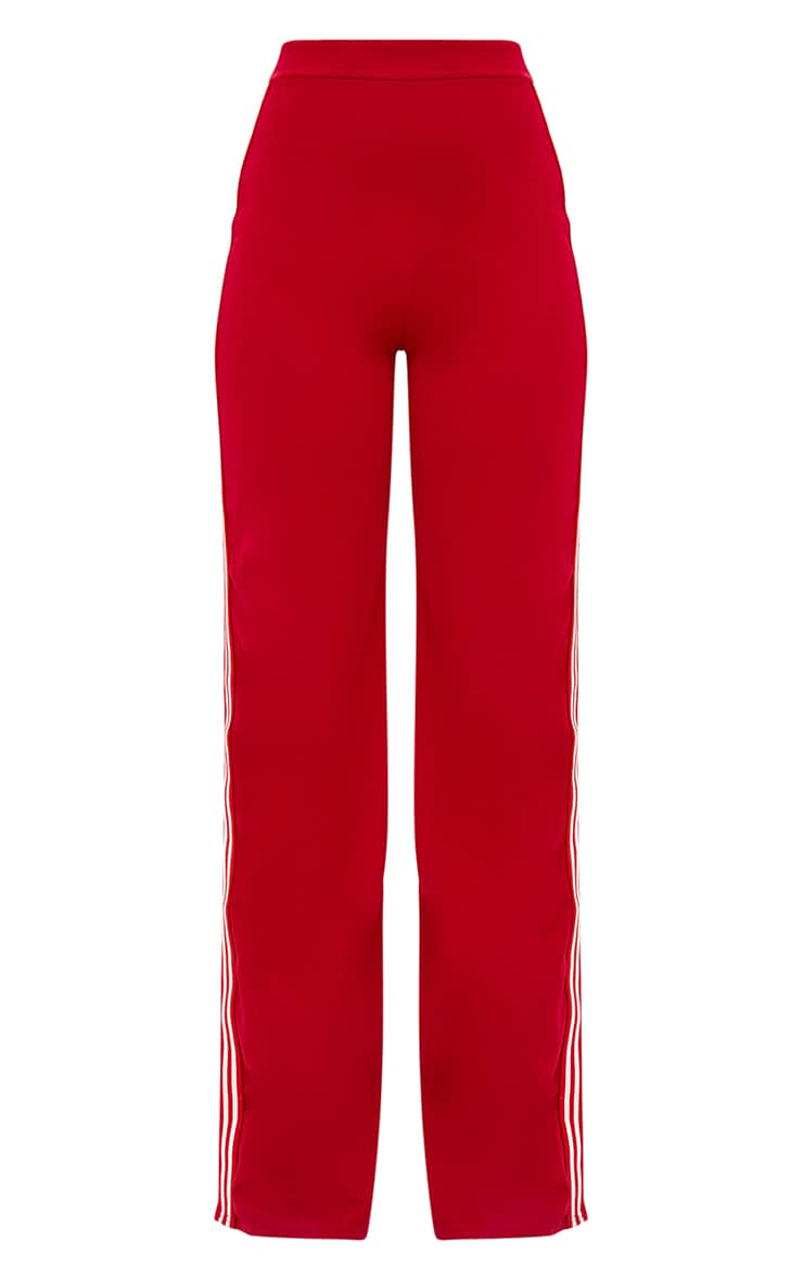 Red Stripe Wide Leg Track Pants  3