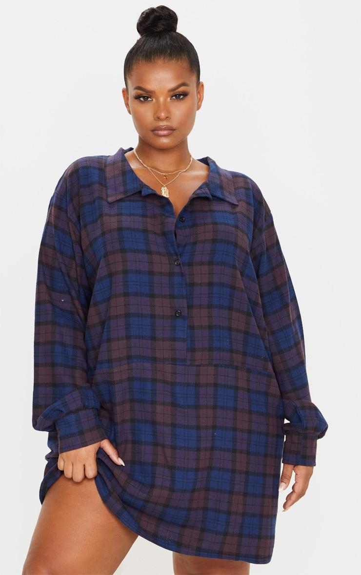 Plus Purple Oversized Check Shirt Dress 4