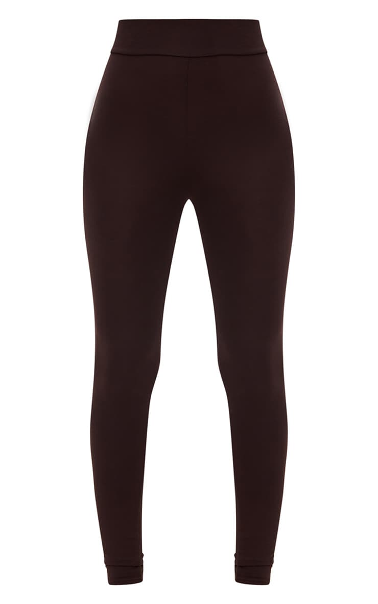 Chocolate Brown High Waisted Jersey Leggings 3