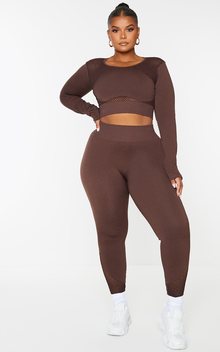 Plus Chocolate Cut Out Seamless Long Sleeve Top 1