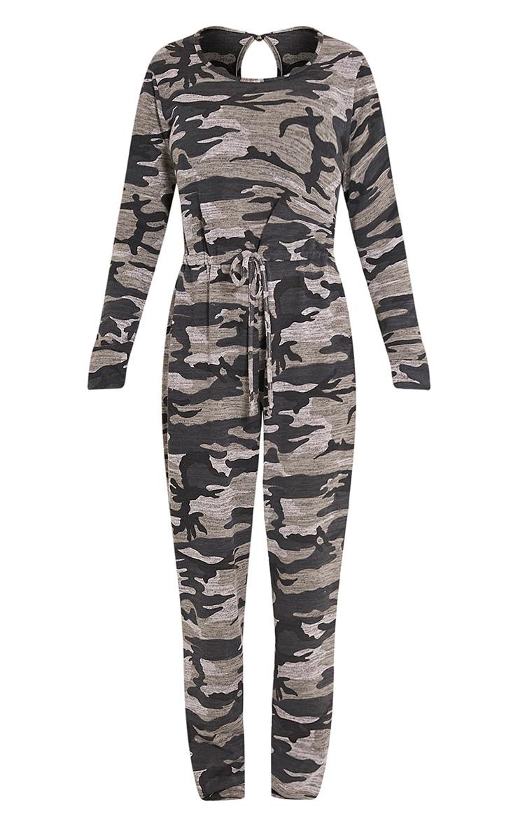 Lottie Grey Camouflage Long Sleeve Casual Jumpsuit 3