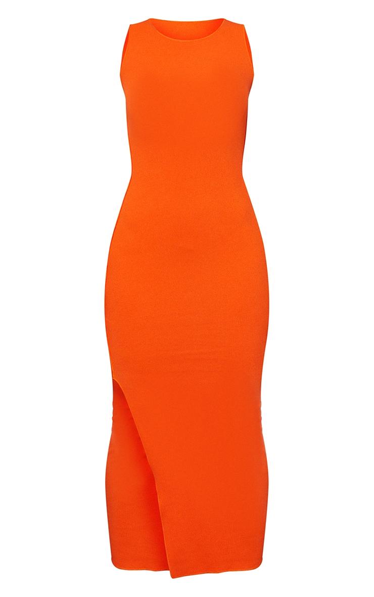 Orange Rib Scoop Neck Slit Side Midaxi Dress 5