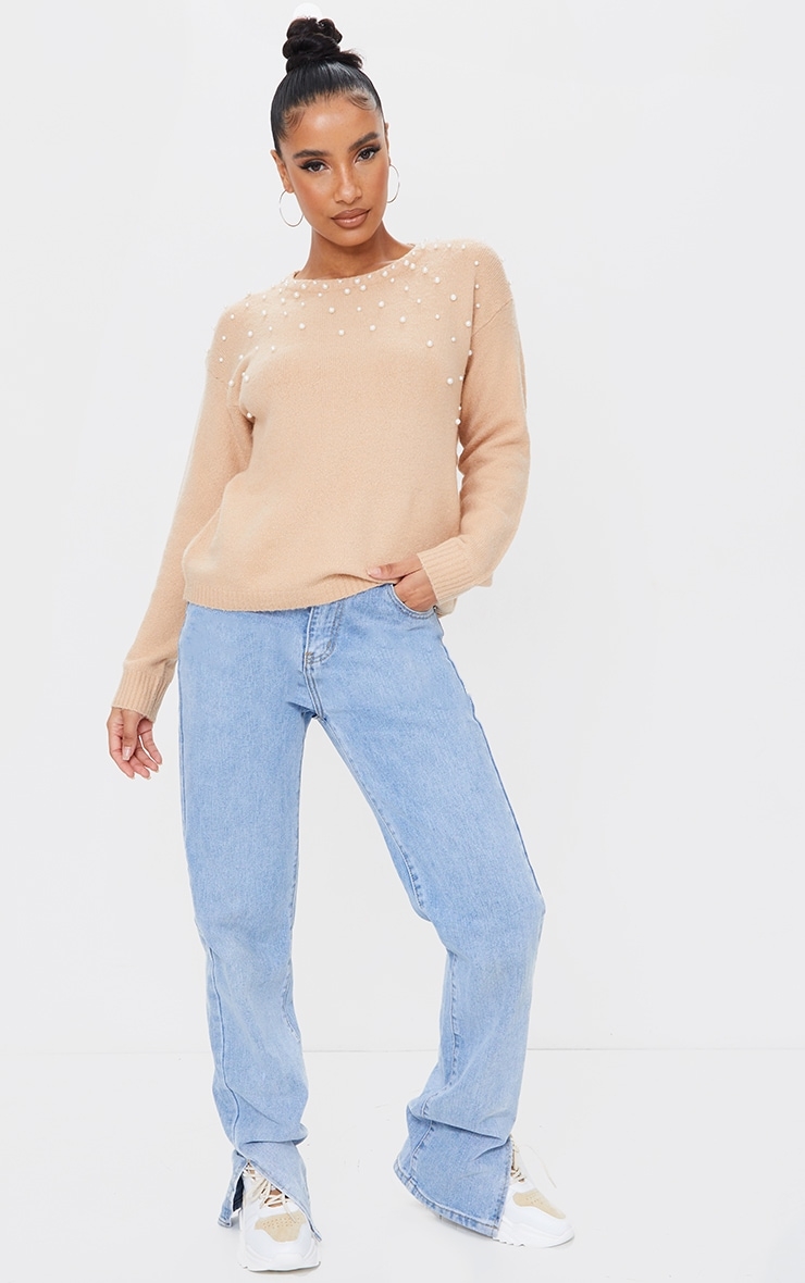 Oatmeal Pearl Detail Crew Neck Sweater 3
