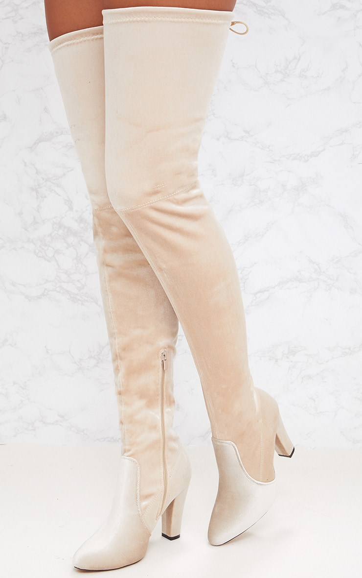 Nude Velvet Thigh High Heeled Boot 2