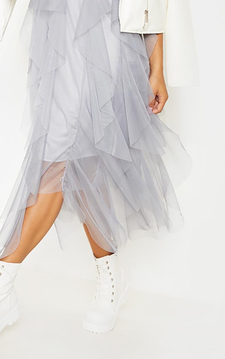 Grey Tulle Detail T Shirt Dress 5