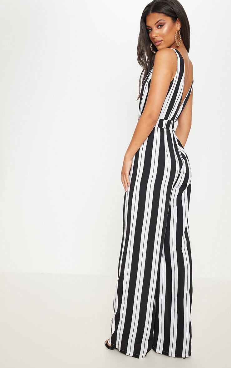 Monochrome Stripe Buckle Belt Detail Jumpsuit 2