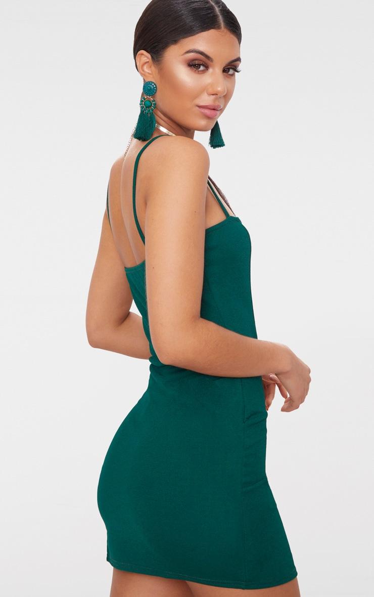 Emerald Green Extreme Thigh Split Panelled Plunge Bodycon Dress 2