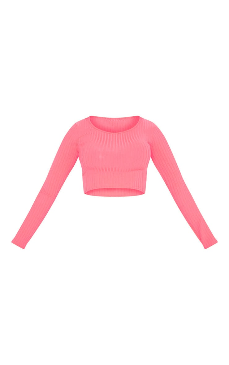 Neon Pink Scoop Neck Long Sleeve Crop Top 3