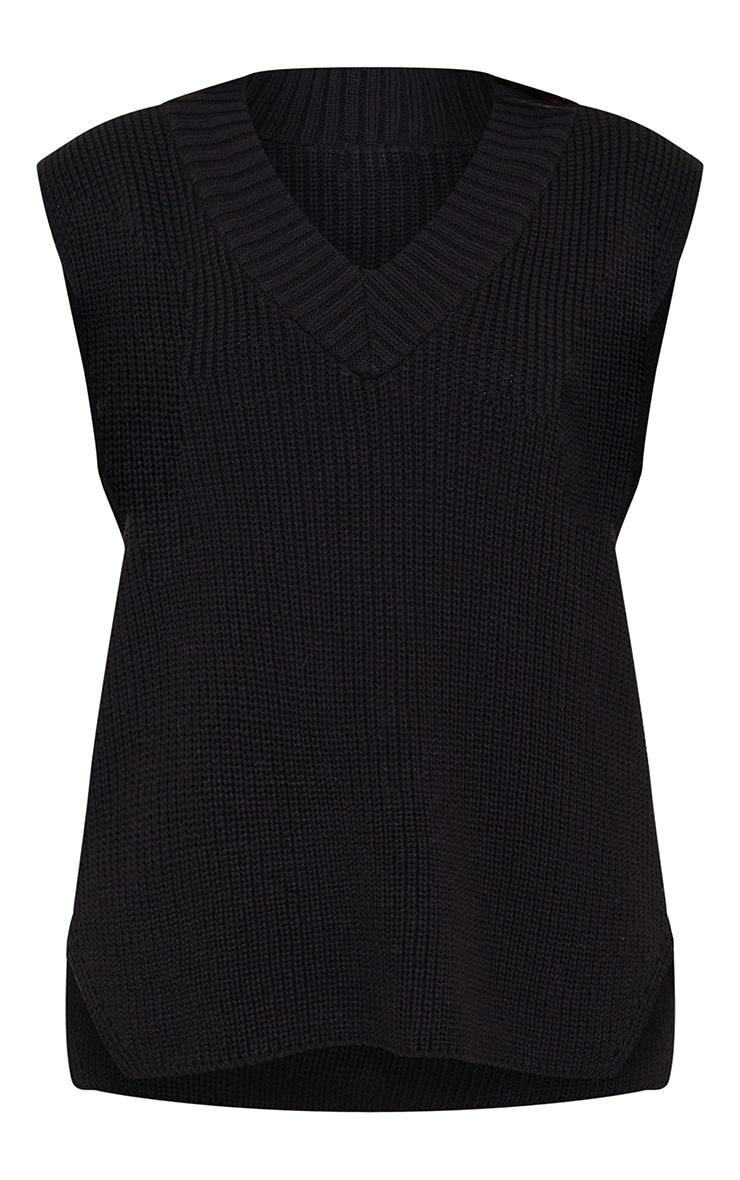 Black V Neck Knitted Side Split Vest 5