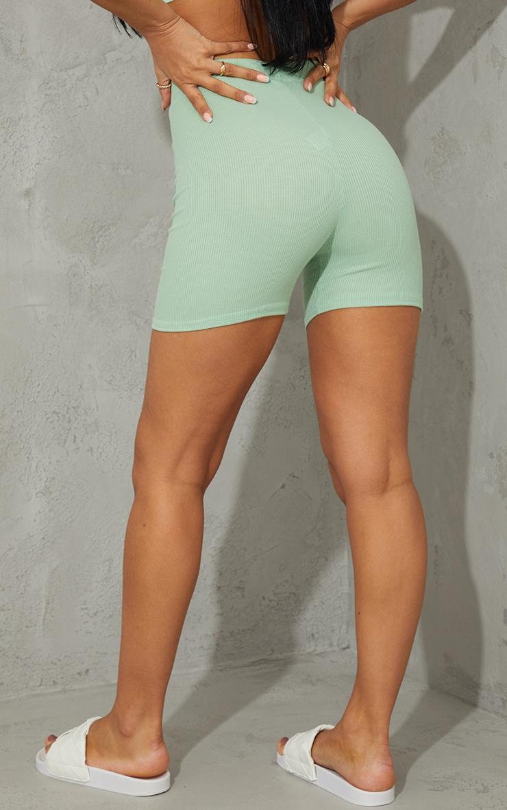Mint Ribbed Bike Shorts 3