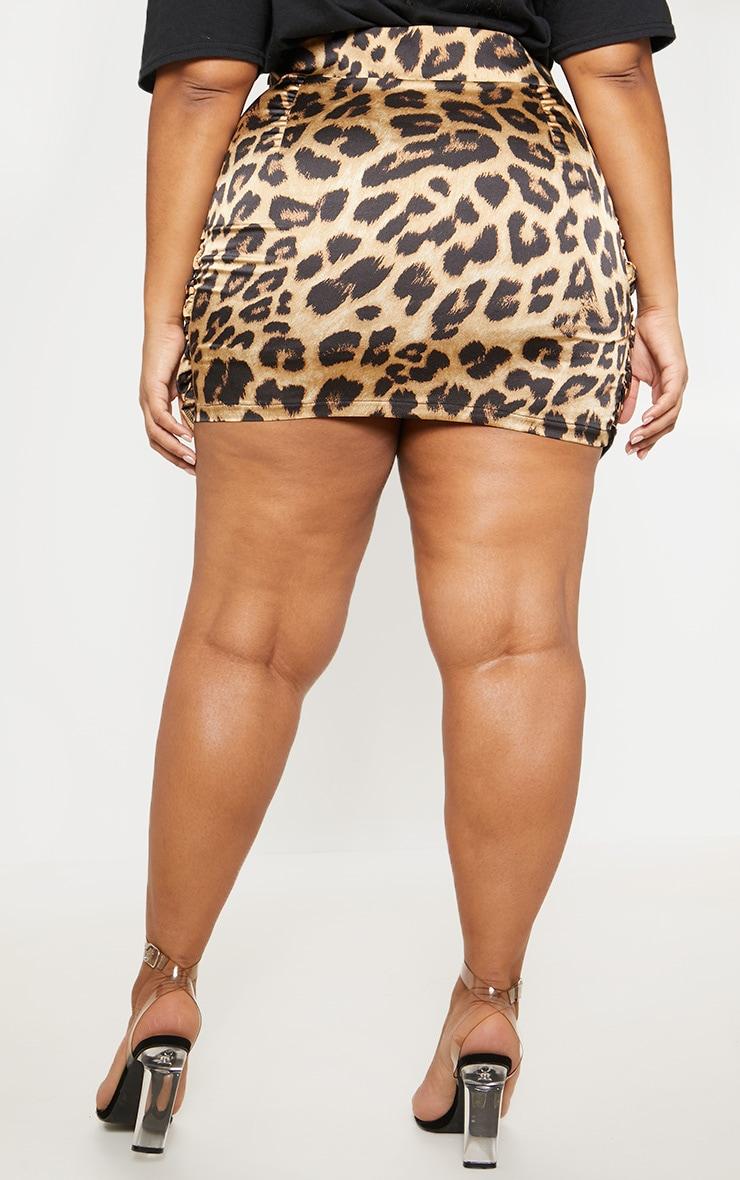 Plus Brown Satin Leopard Print Gathered Mini Skirt 4