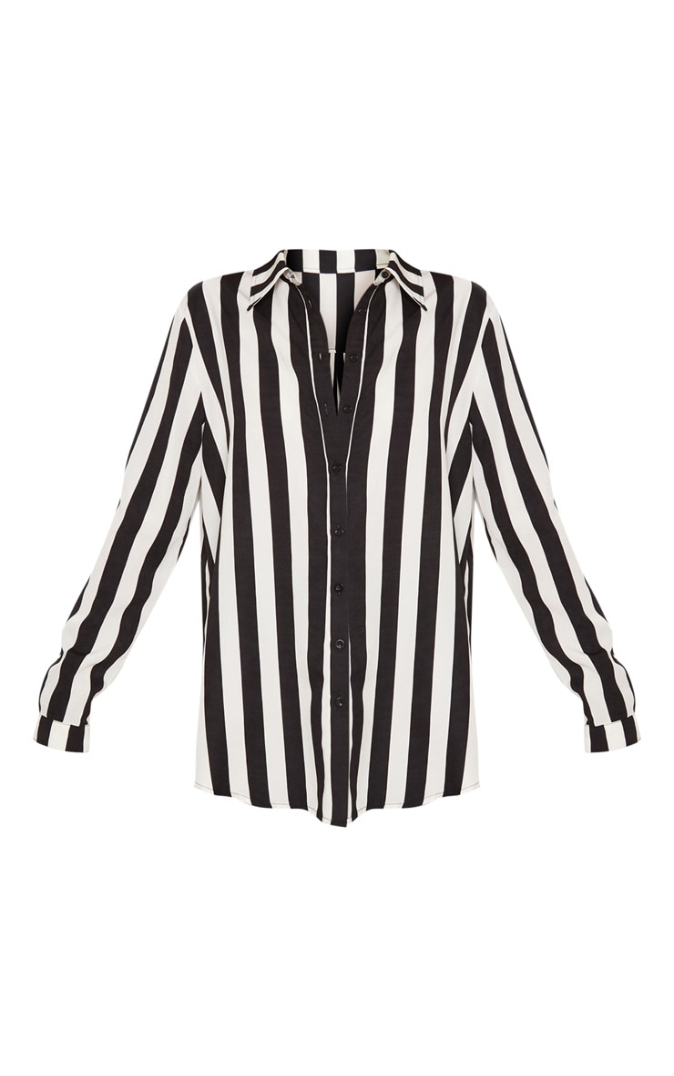 Monochrome Stripe Satin Button Front Shirt 3