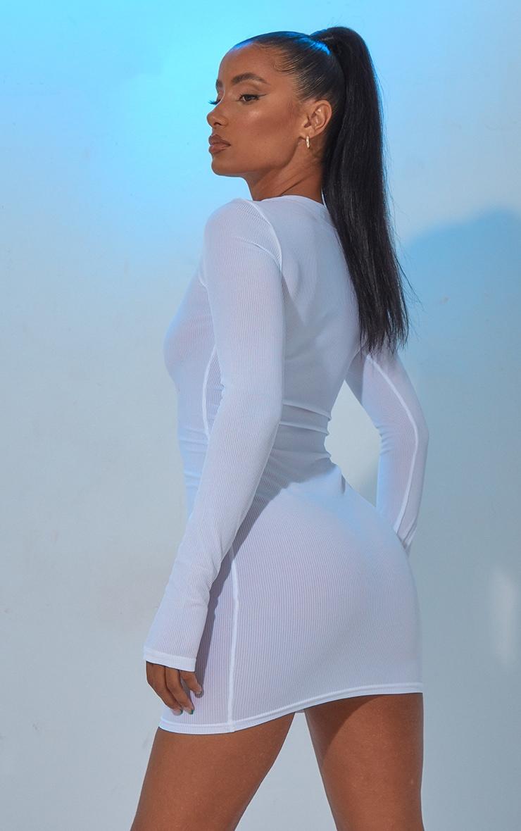 White Long Sleeve Thumb Hole Bodycon Dress 3
