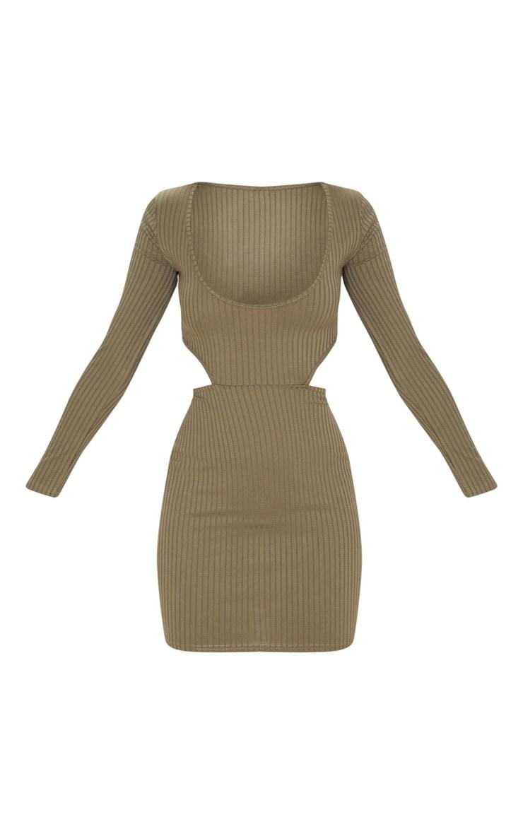 Khaki Ribbed Cut Out Binding Detail Long Sleeve Bodycon Dress 3