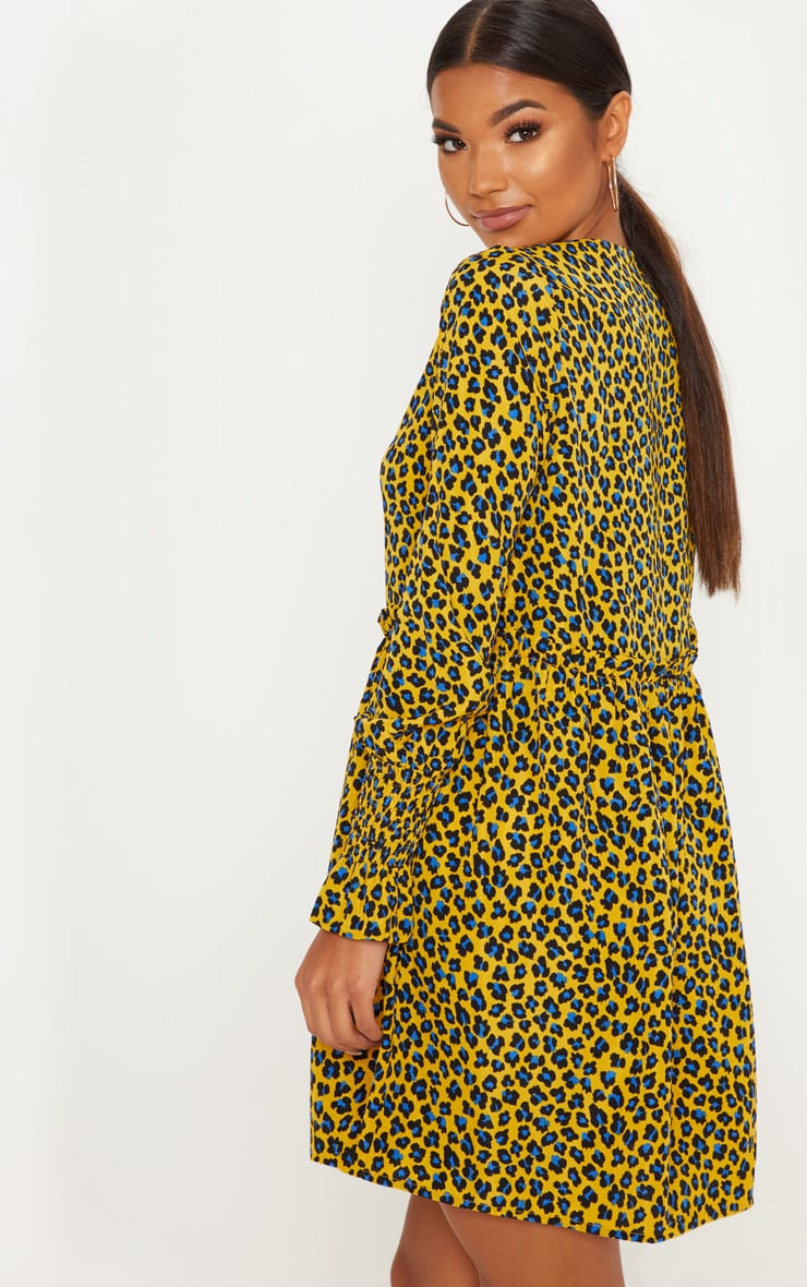 Mustard Leopard Print Covered Button Shirred Detail Smock Dress 2