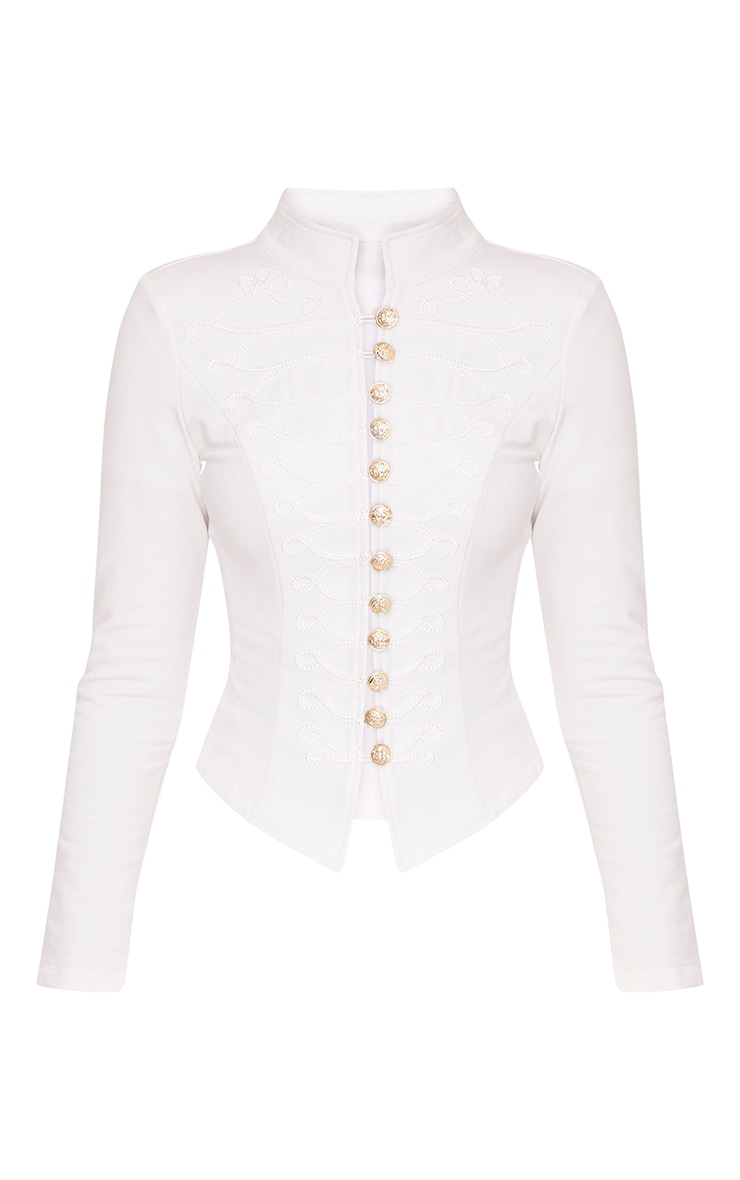 Zoeey White Slim Fit Cropped Military Jacket 3