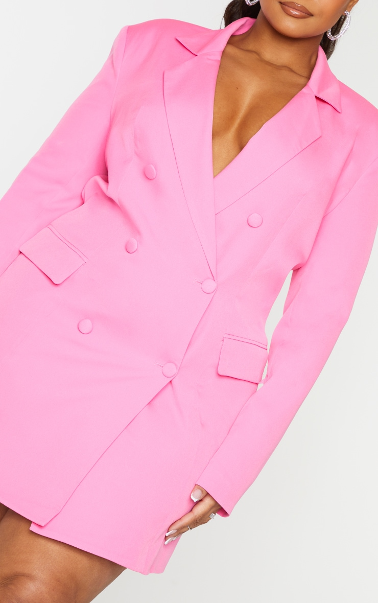 Plus Hot Pink Double Breasted Structured Blazer Dress 4