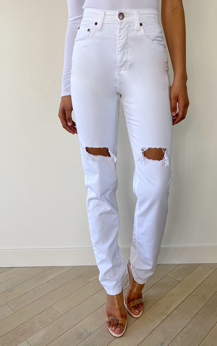 Tall White Rip Knee Mom Jean 2