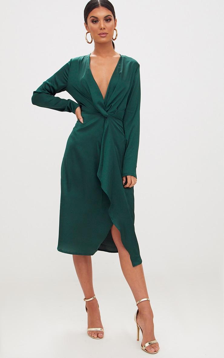 Emerald Green Satin Long Sleeve Wrap Midi Dress 4