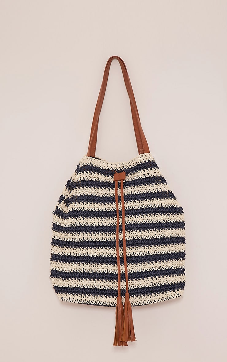 Jani Navy Striped Straw Beach Bag 1