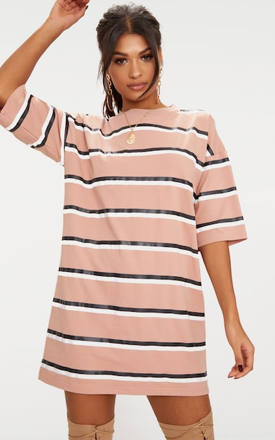 c229fa2c0ab1 Camel Striped Oversized Boyfriend T Shirt Dress