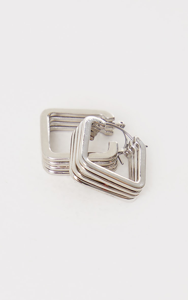 Silver Chunky Ribbed Square Hoop Earrings 2
