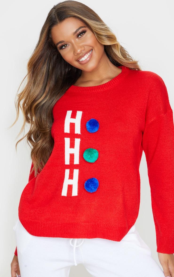 Red Ho Ho Ho Pom Pom Christmas Jumper 1