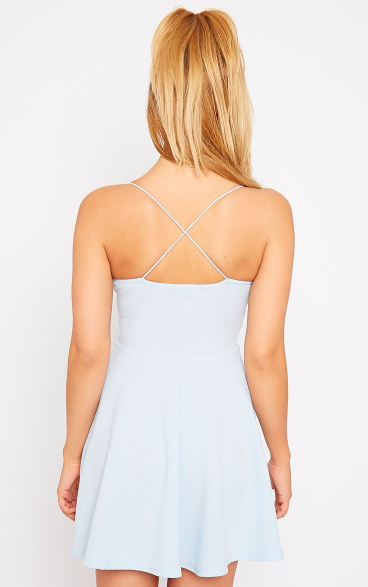 Luccie Blue Crepe Skater Dress 2