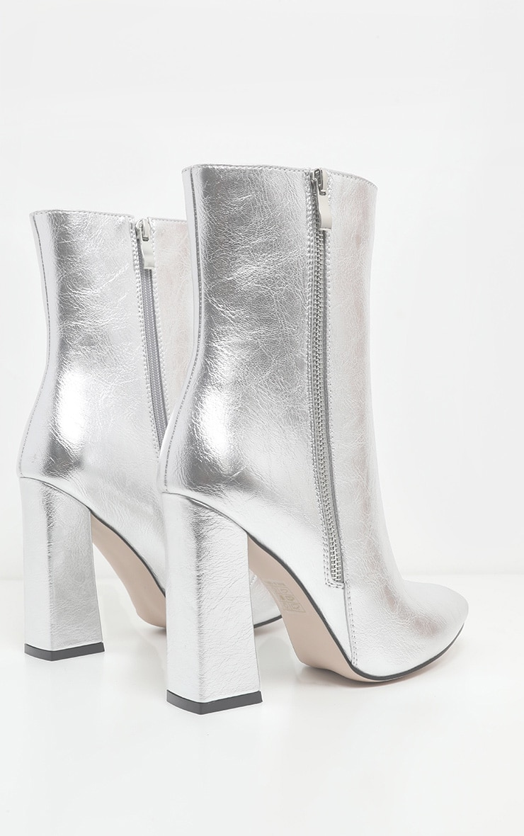 Silver Side Zip High Point Ankle Boot 4