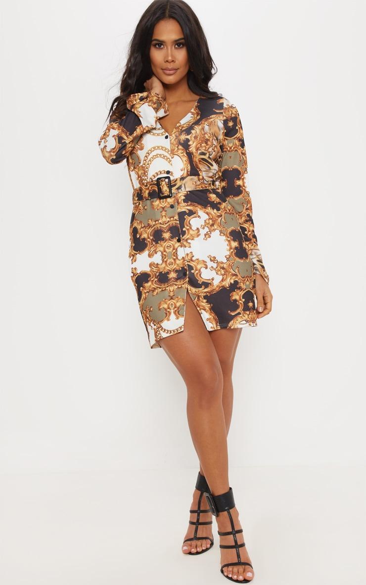 Brown Chain Print V Neck Button Shift Dress 1