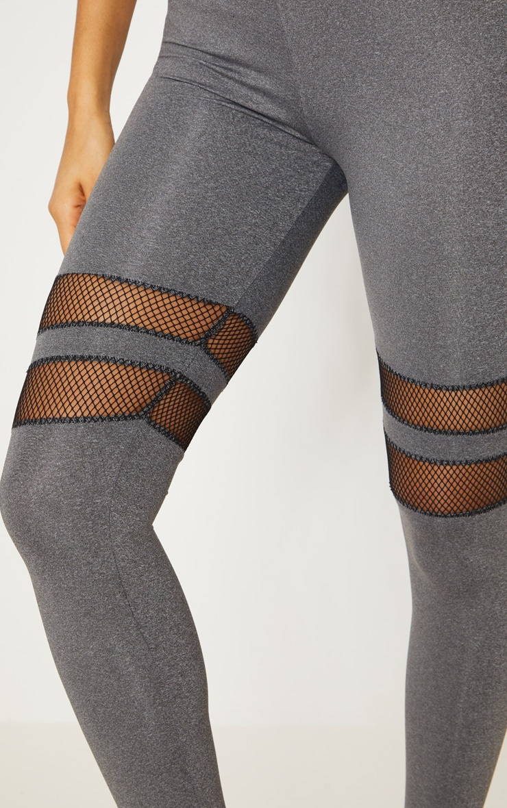 Charcoal Speckle Fishnet Panel Leggings 5