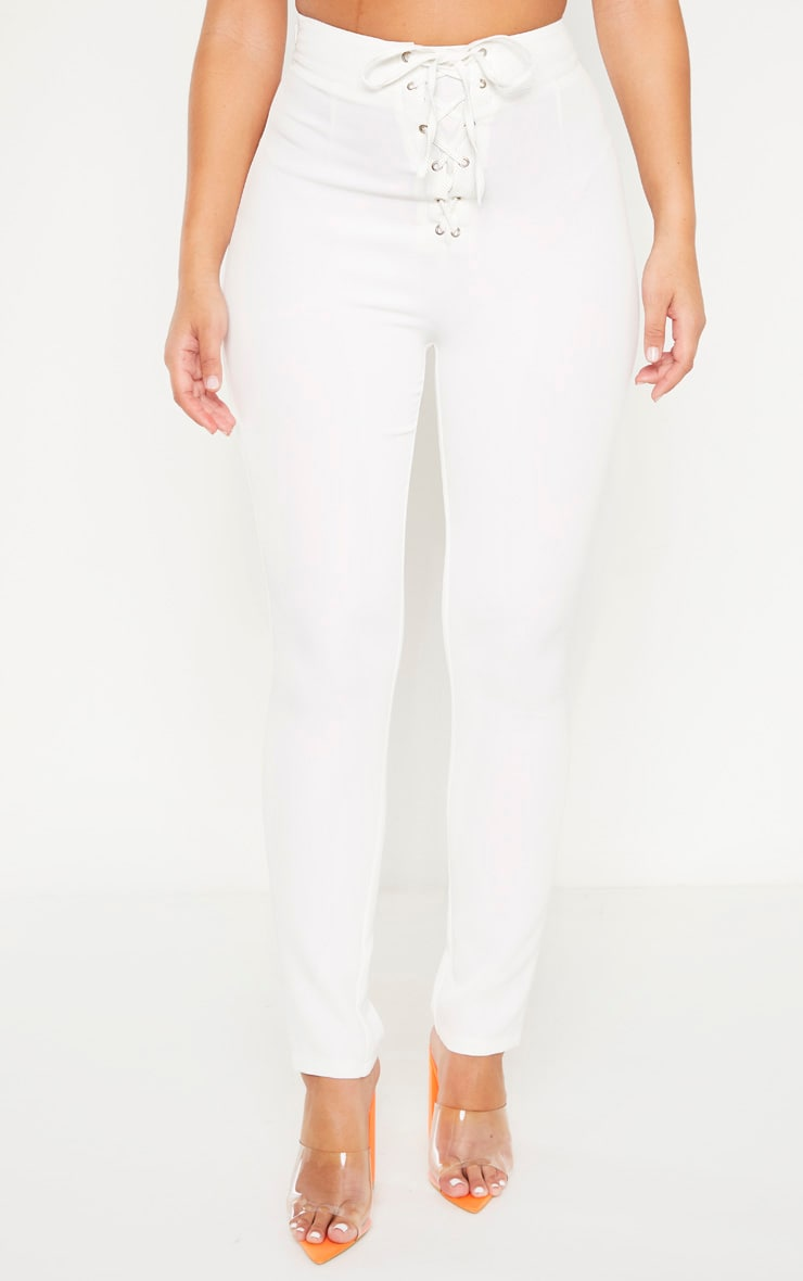 Plain White High Waisted Lace Up Straight Leg Trouser 2