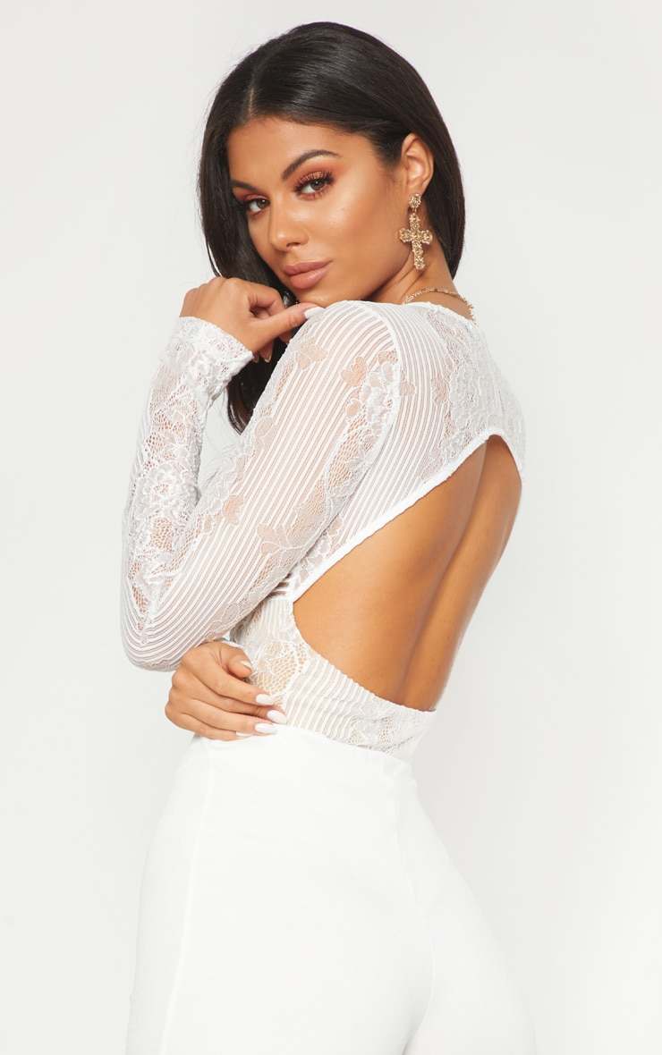 White Lace Open Back Thong Bodysuit 6
